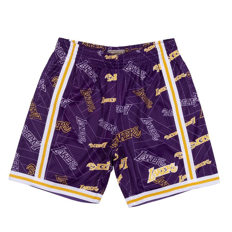 & / Tear Lakers Swingman Angeles ショートパンツ(ハーフパンツ) Ness Tear Los Short up up NBA Mitchell 総柄ロゴ ミッチェル&ネス ロサンゼルス・レイカーズ スウィングマン