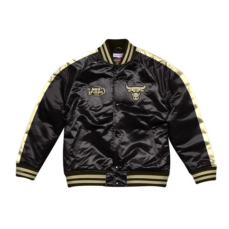 ミッチェル & ネス NBA シカゴ・ブルズ Color Blocked サテンジャケット ブラック&ゴールド / Mitchell & Ness Color Blocked Satin Jacket Chicago Bulls Black / Gold