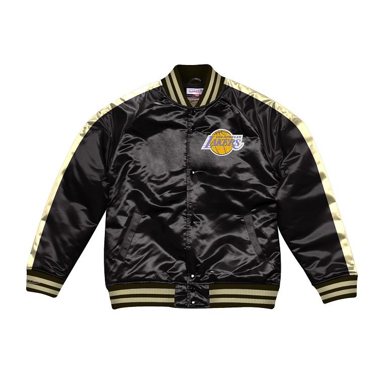 ミッチェル & ネス NBA ロサンゼルス・レイカーズ Color Blocked サテンジャケット ブラック&ゴールド / Mitchell & Ness Color Blocked Satin Jacket Los Angeles Lakers Black / Gold