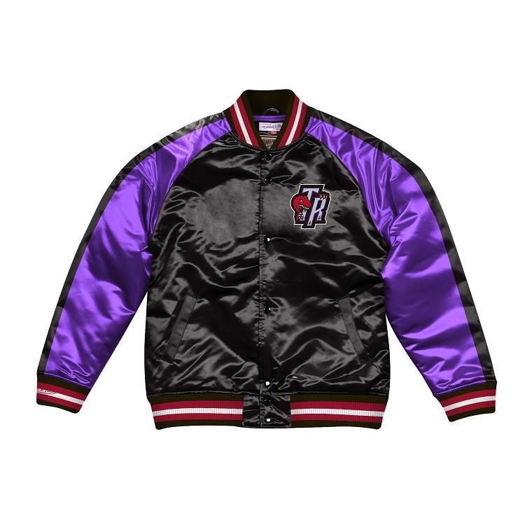 ミッチェル & ネス NBA トロント・ラプターズ Color Blocked サテンジャケット ブラック&パープル / Mitchell & Ness Color Blocked Satin Jacket Tronto Raptors Black / Purple