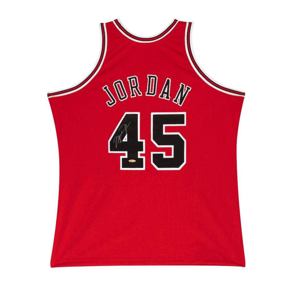 マイケル・ジョーダン 直筆サイン入り ミッチェル&ネス NBA シカゴ ブルズ 1994 背番号45 レッド オーセンティック ユニフォーム 【フレームなし】 / MICHAEL JORDAN SIGNED 1995 #45 RED CHICAGO BULLS MITCHELL & NESS JERSEY / UPPER DECK メモラビリア