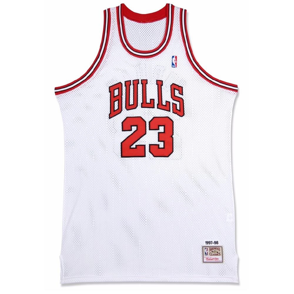 マイケル・ジョーダン 直筆サイン入り ミッチェル&ネス NBA シカゴ ブルズ 1997-98 ホワイト オーセンティック ユニフォーム 【フレームなし】 / NBA Michael Jordan Signed Chicago Bulls Mitchell & Ness Authentic Jersey / UPPER DECK メモラビリア