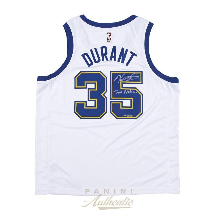 ケビン・デュラント 直筆サイン入り NBA ウォリアーズ ナイキ スウィングマン ユニフォーム 世界135枚限定生産 【フレームなし】 / Kevin Durant Autographed Nike Warriors White Swingman Jersey with