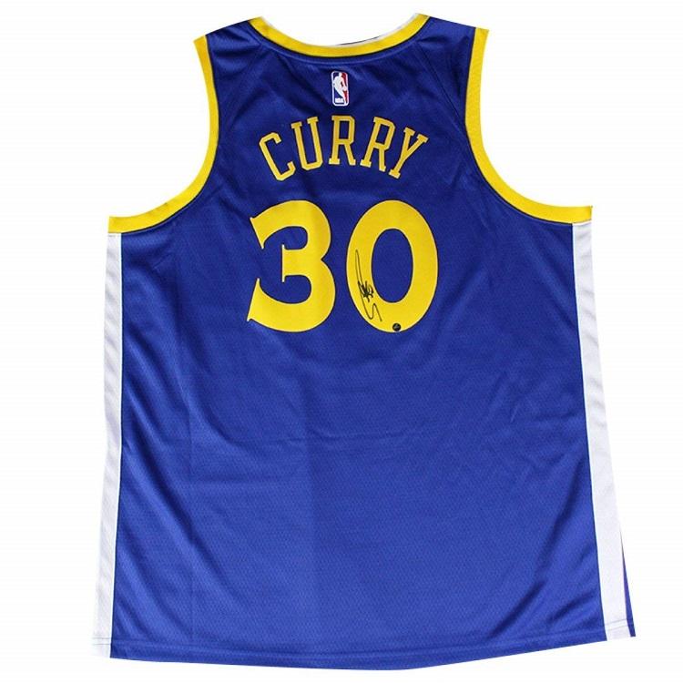 ステフィン・カリー 直筆サイン入り NBA ゴールデンステート・ウォリアーズ スウィングマン オンコートジャージー(Rakutenロゴ入り) ブルー【フレームなし】 / Stephen Curry Signed Golden State Warriors Jersey - Blue / Steiner NBA メモラビリア