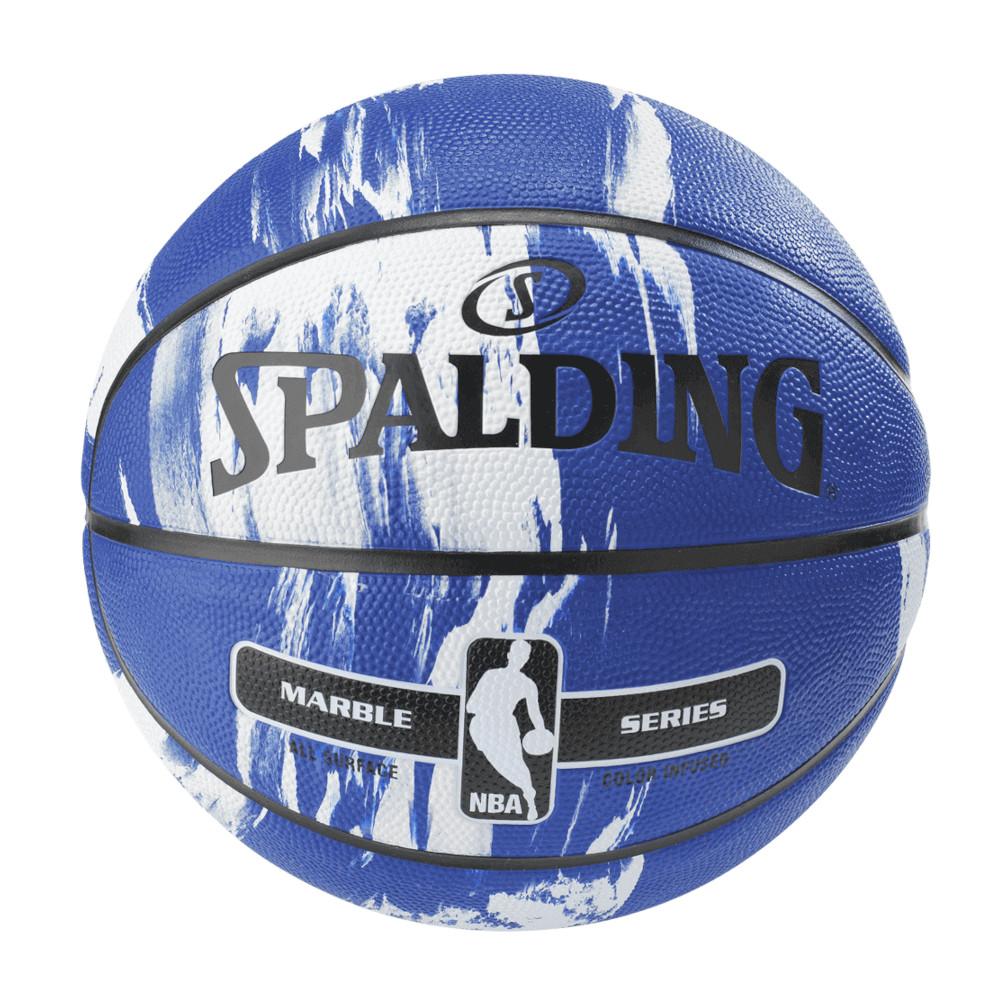 屋外バスケにおすすめ NBA公式 SPALDING 7号球 バスケットボール ゴム 即納最大半額 贈り物 ラバー ブルー スポルディング マーブルコレクション
