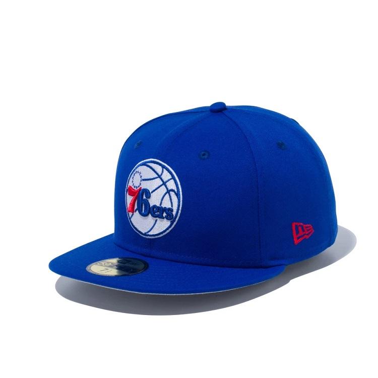 ニューエラ NBA 59FIFTY キャップ New Era フィラデルフィア セブンティ 出群 ブルー バスケットボール チームカラー シクサーズ × 帽子 メンズ 正規逆輸入品