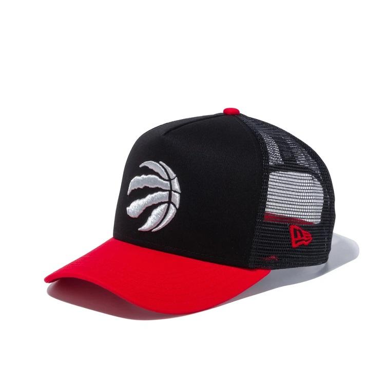 2020春夏新作 ニューエラ NBA 9FORTY A-Frame 店舗 トラッカー メッシュ キャップ NEW ERA Raptors ラプターズ 帽子 チームカラー トロント ブラック× Tronto