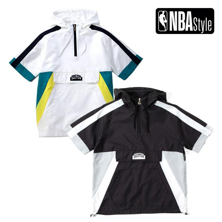 【NBA Style】 Boston Celtics Loose Fit ショートスリーブ アノラックフーディー ユニセックス / ホワイト ブラック ボストン・セルティックス