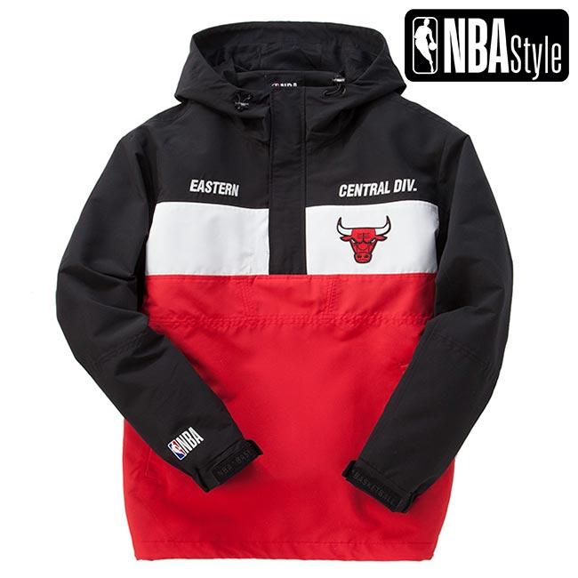 【NBA Style】 Chicago Bulls チームカラー ハーフジップ アノラックフーディー ユニセックス / シカゴ・ブルズ