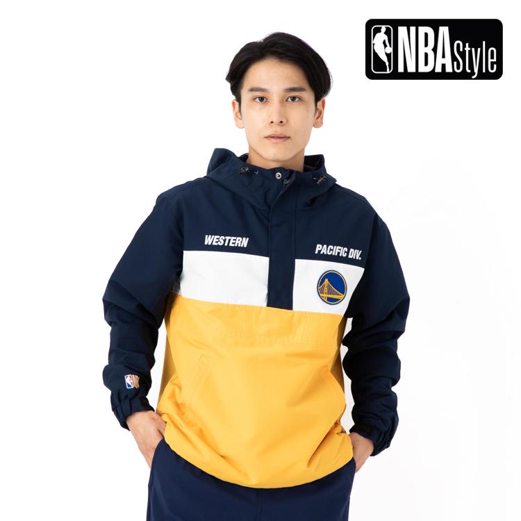 【NBA Style】 Golden State Warriors チームカラー ハーフジップ アノラックフーディー ユニセックス / ゴールデンステート・ウォリアーズ