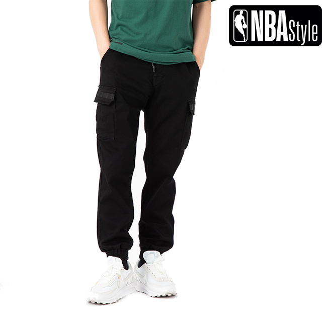 【NBA Style】 NBA Logo カーゴ ジョガー デニムパンツ / ブラック