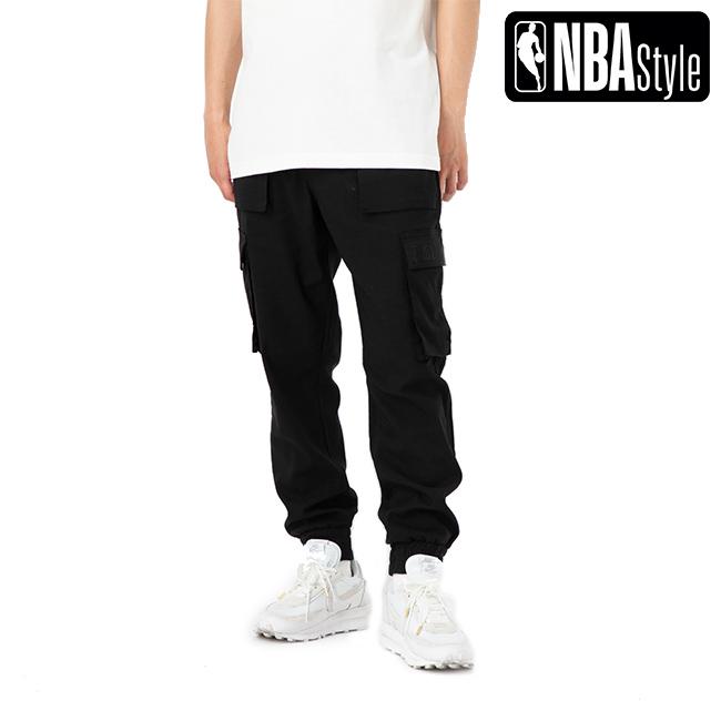 【NBA Style】 NBA Logo 立体ポケット カーゴジョガー パンツ / ブラック