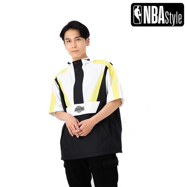 【NBA Style】 Los Angles Lakers ユニカラー ショートスリーブ アノラック フーディー ユニセックス / ロサンゼルス・レイカーズ