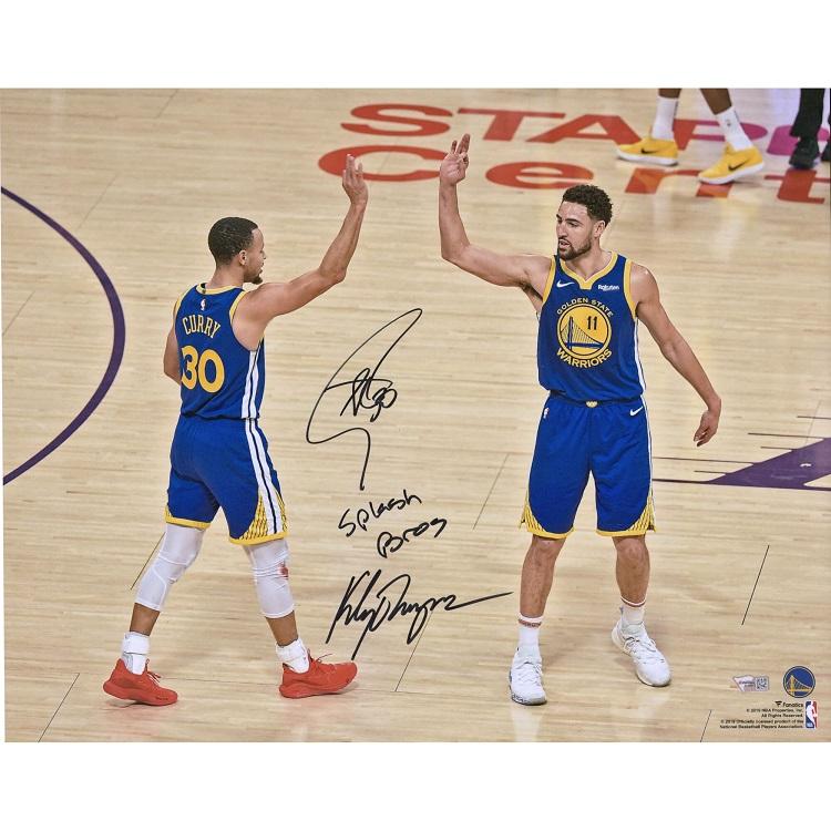 ステフィン・カリー クレイ・トンプソン 直筆サイン入り 16x20インチ フォトポスター NBA ゴールデンステート・ウォリアーズ 【フレームなし】 / Stephen Curry, Klay Thompson Golden State Warriors Autographed 16x 20 Photograph with Splash Bros Inscription