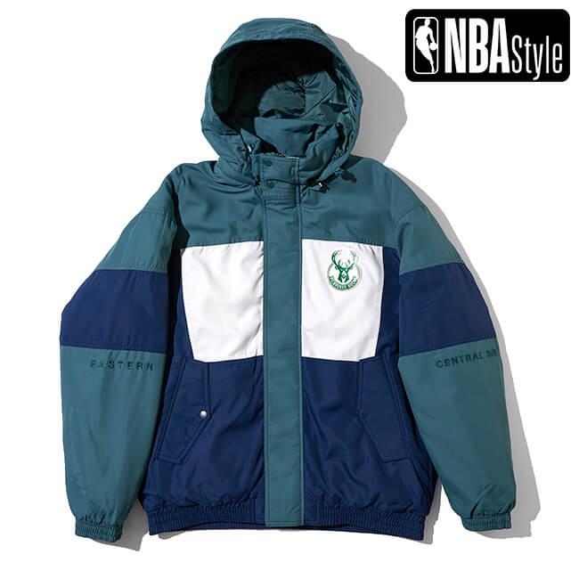予約販売 NBA Style AW Miluwaukee Backs チームレタリング カラー ◆在庫限り◆ ダウンジャケット 公式サイト