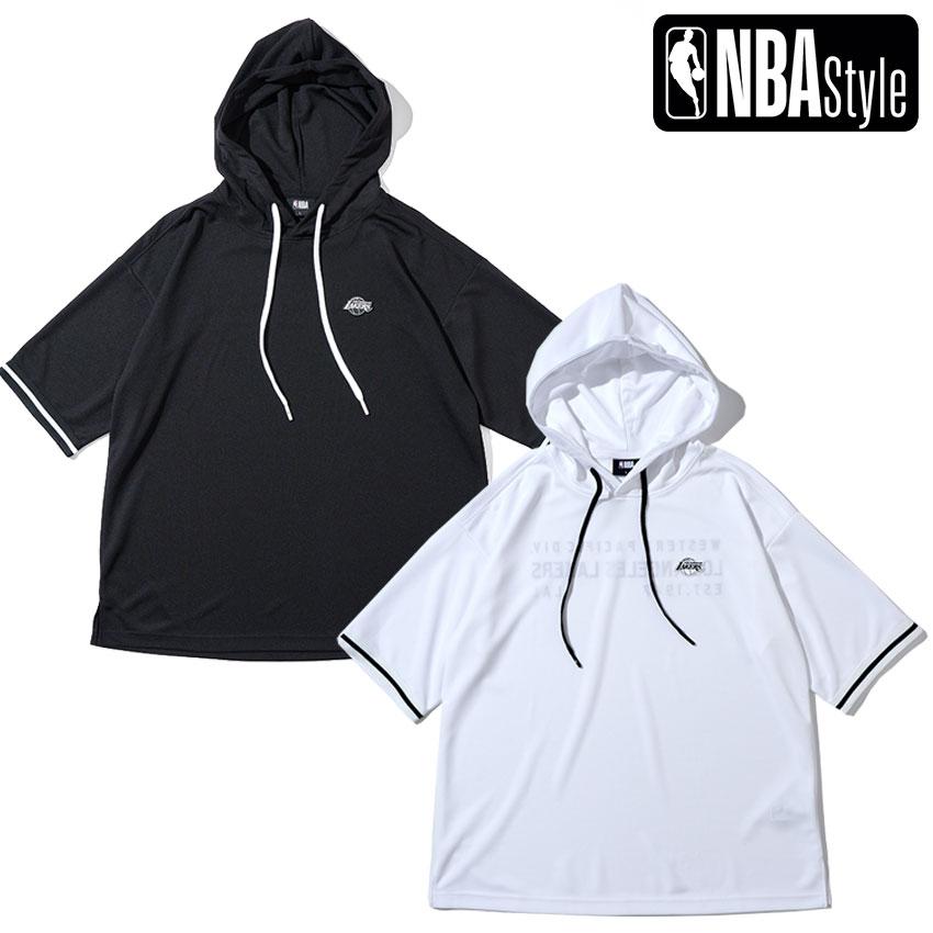 限定 NBA公式ライフスタイルアパレル NBA Style 2021 SS Los Angeles 2020 メッシュフーディー レイカーズ ホワイト ブラック ロサンゼルス 使い勝手の良い ショートスリーブ Lakers