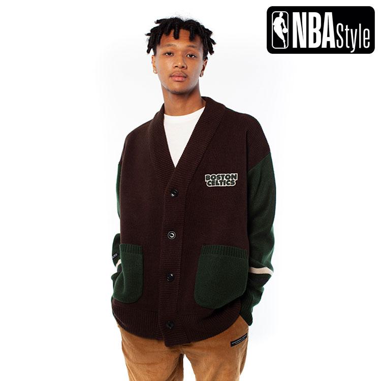 【NBA Style 2020 A/W】Boston Celtics エンブレムポイント オーバーサイズ ニット カーディガン / ボストン・セルティックス