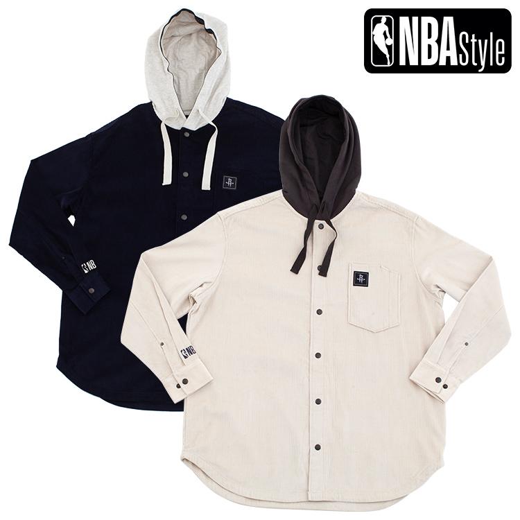 【NBA Style 2020 A/W】Houston Rockets コーデュロイ フード ロング丈シャツジャケット / ヒューストン・ロケッツ