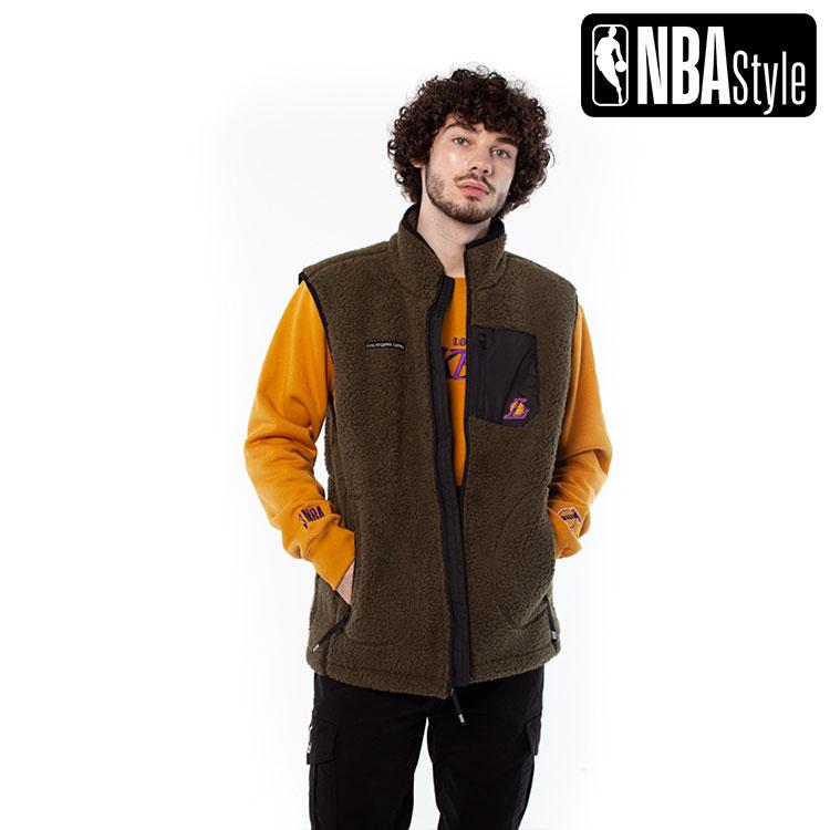 【NBA Style 2020 A/W】Los Angeles Lakers モックネック ボアファー ベスト / ロサンゼルス・レイカーズ