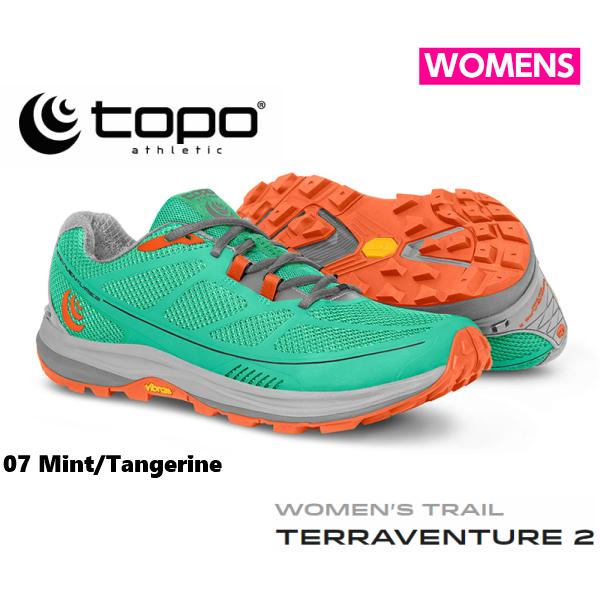 TOPOathletic(トポアスレチック) テラベンチャー2 レディース ミント/タンジェリントレイルランニング トレラン シューズ TOPO