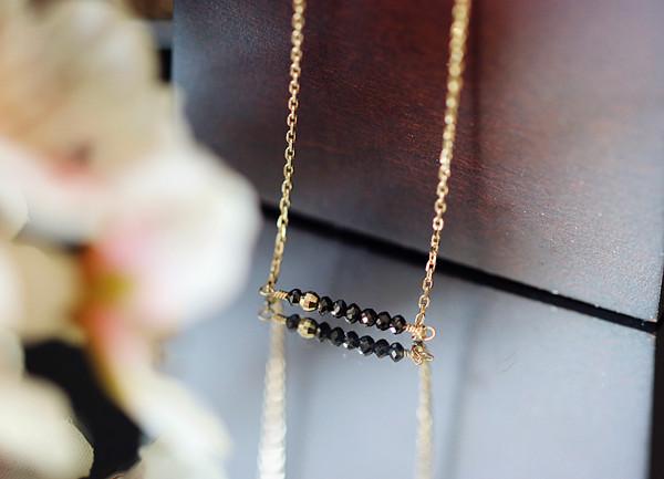RALULU.SHU 「永遠不変」K10本金 天然ブラックダイヤモンド Lucky7 ネックレス 4月誕生石