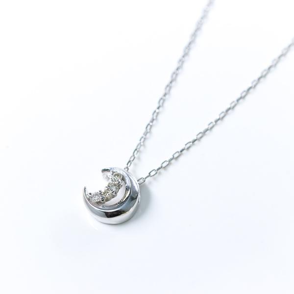 数量限定 永遠不変 K18金 天然ダイヤモンド 18金 月のネックレス 4月誕生石 RALULU.SHU