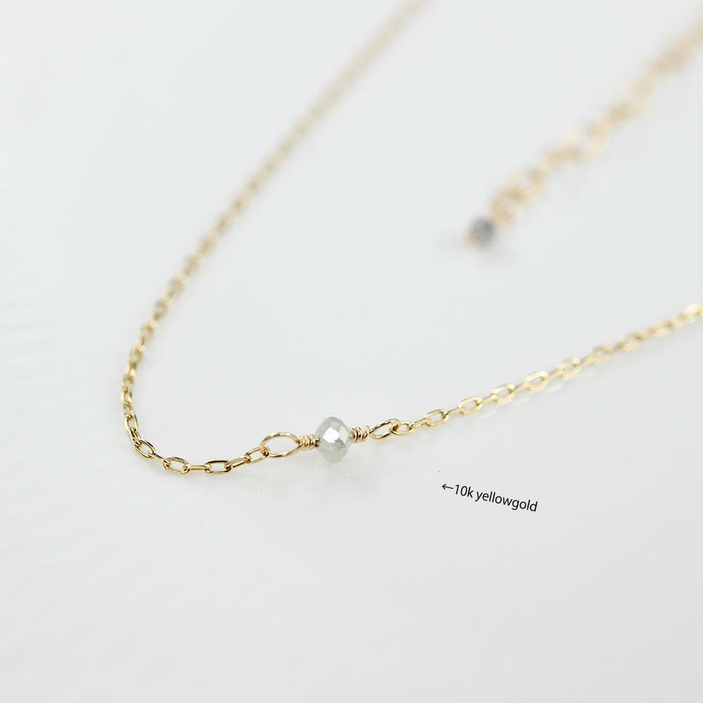 パワーストーン 天然石 ハンドメイド 10Kミニホワイトグレー系天然ダイヤモンド 1粒ネックレス ゴールドフィルド RALULU.SHU 14KGF