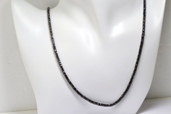 【K18WG】ブラックダイヤモンドネックレス60ctアップステップカット【AAAAクラス】ブラックダイヤ
