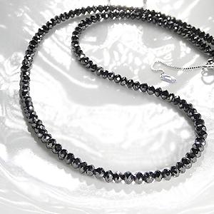 K18WG ブラックダイヤモンドネックレス50ctアップ AAAAクラス 安心ダブルワイヤー使用ブラックダイヤzqSUMpVG