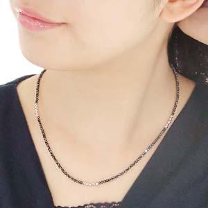 【K18WG】ブラックダイヤモンドデザインネックレス20ct ブラックダイヤAAA