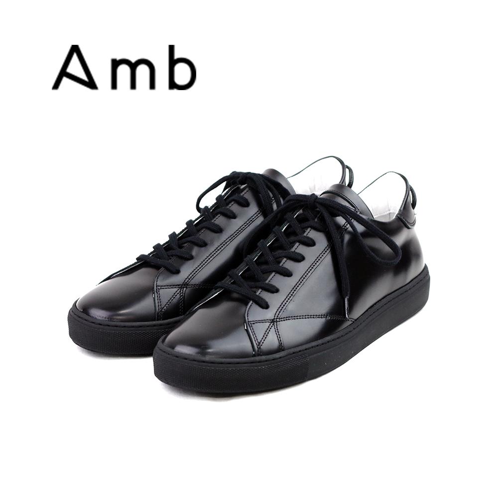 【送料無料】【当店別注モデル】【正規品】 ポイント10倍【AMB エーエムビー】別注ガラスレザー ローカットスニーカー (9838) GLACE ブラック×ブラック メンズシューズ 本革 紳士靴