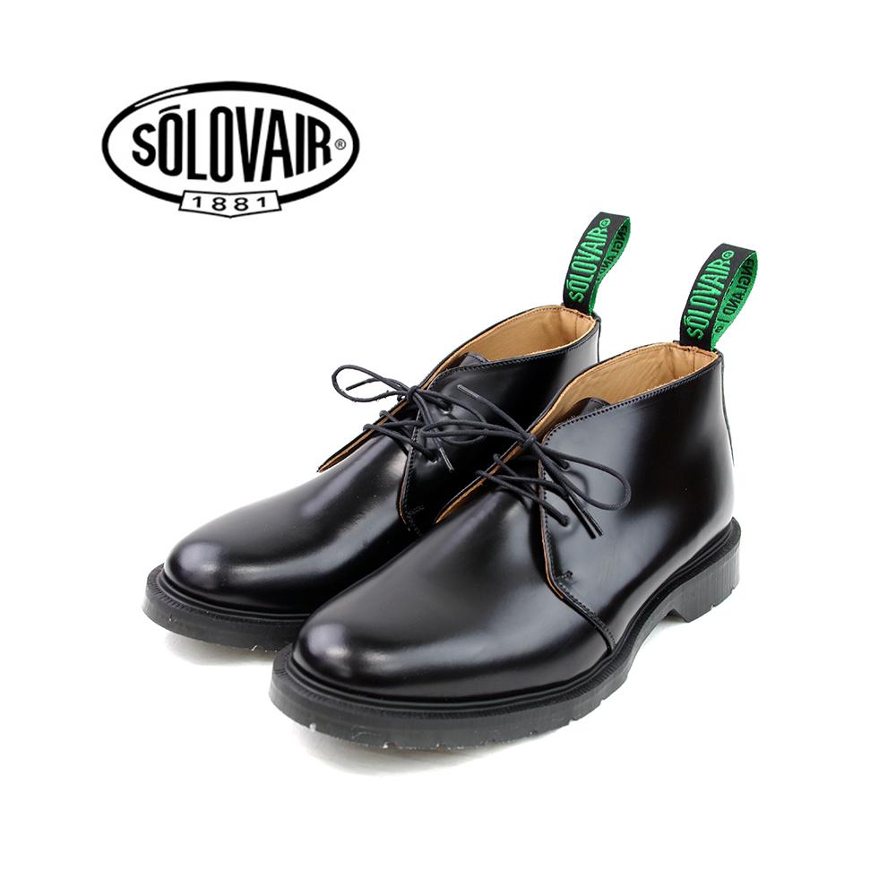 SOLOVAIR 公式ショップ ソロヴェアー ソロベアー チャッカブーツ 3EYE CHUKKA BLACK ブラック 黒 革靴 専門店 17 20:00-9 9 24 カジュアル お買得クーポン メンズ 1:59