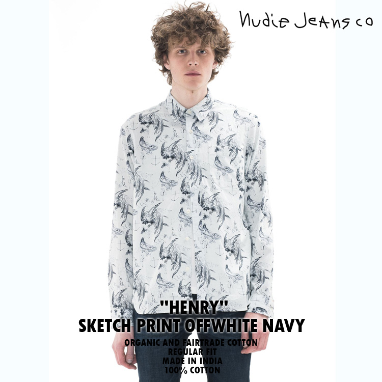 NudieJeans ヌーディージーンズ HENRY ヘンリー SKETCH PRINT OFF WHITE NAVY 140448】
