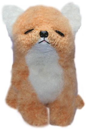 上向きキツネ・ぬいぐるみ ファークラフト社製 オリジナル ハンドメイド キツネ 毛皮 ラム