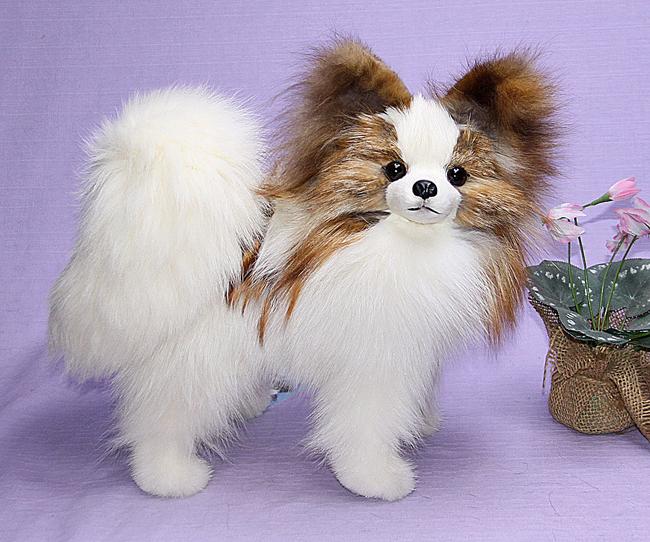 世界でたった一体のパピヨン 特選品 ぬいぐるみ イヌ日本製 限定品 毛皮フォックス インテリア ギフト クリスマスギフト