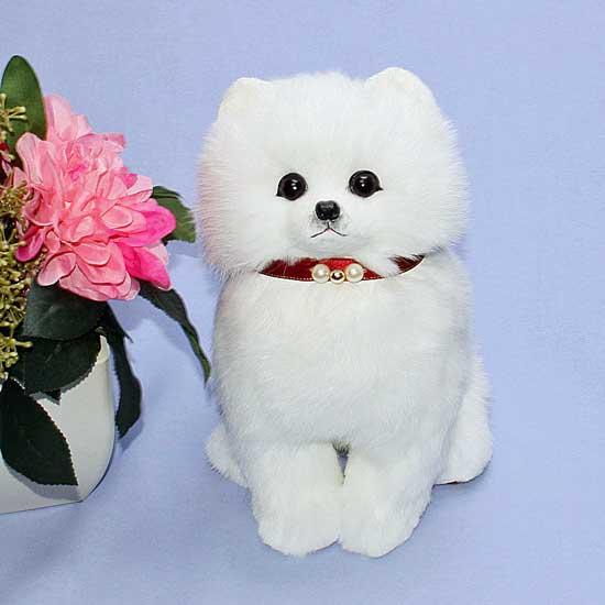 子犬 ぬいぐるみ 白子犬 オリジナル ハンドメード プレゼント ギフト 毛皮毛皮 ラパン クリスマスギフト イヌ プレゼント品