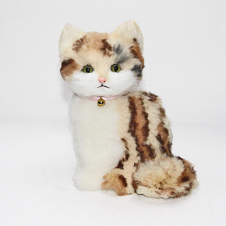 とら柄子猫 ファークラフト社製 ぬいぐるみ ネコ ギフト 毛皮 ハンドメード クリスマスギフト プレゼント品