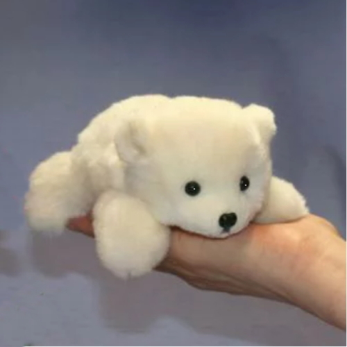 しっとりしなやかふわふわ感触で癒してくれるクマのぬいぐるみ  17/這い型白くま ファークラフト社製 ぬいぐるみ犬 ネコ パンダ うさぎ リアル毛皮 作家手作り品 ハンドメイド
