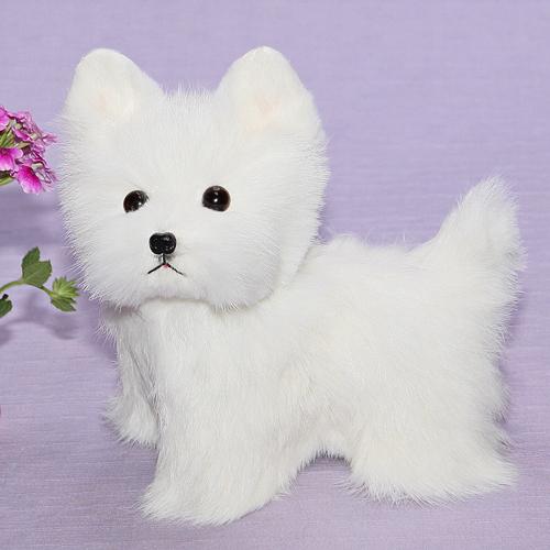 ホワイトテリア ファークラフト社製 ハンドメード 毛皮 ラム ぬいぐるみ クリスマスギフト イヌ