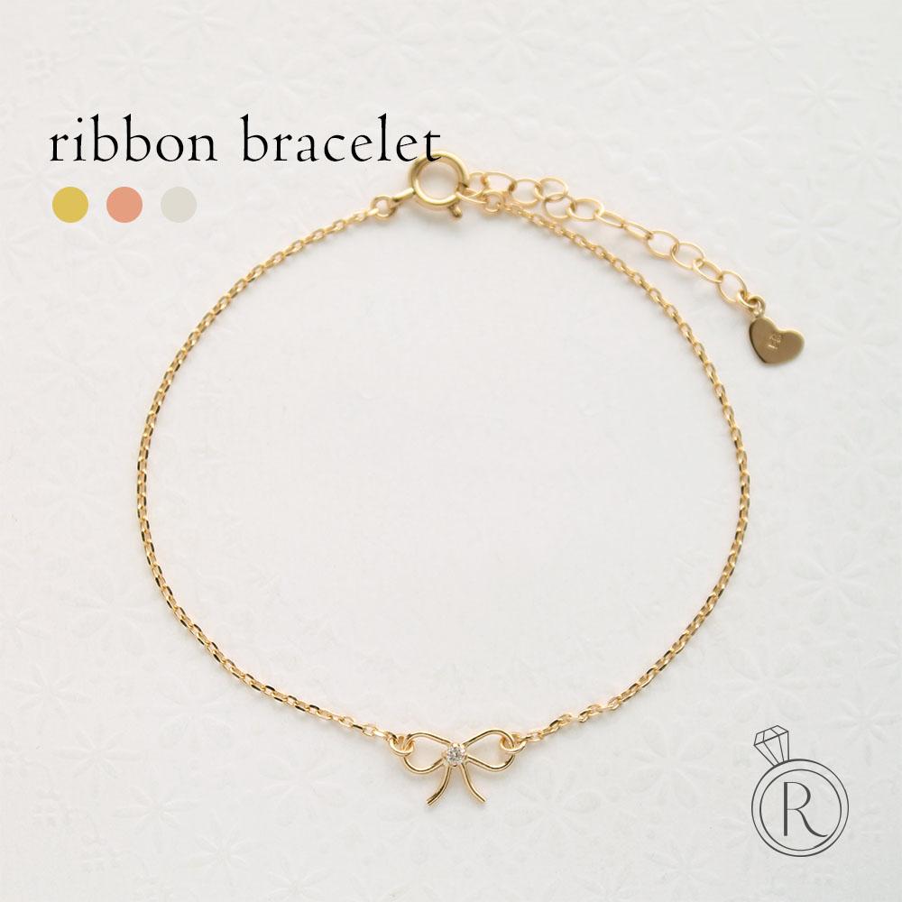 K18 リボン ダイヤモンド ブレスレット金糸で結んだような、ふんわり可愛いリボンモチーフ 送料無料 レディース ダイヤ ブレスレット ダイアモンド bracelet ゴールド 18k 18金 ラパポート