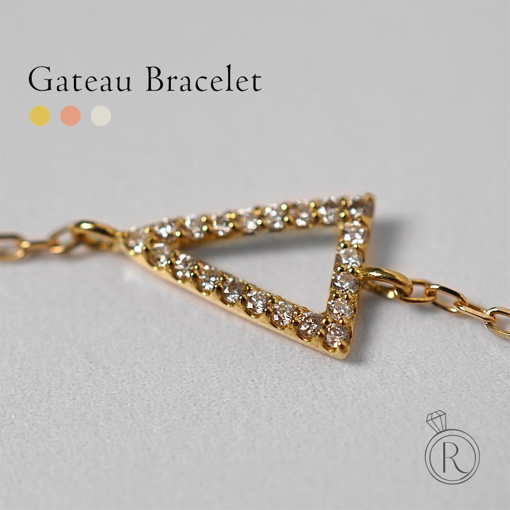 K18 ガトー ダイヤモンド ブレスレット 三角形、クールで幾何学的。 送料無料 レディース ダイヤ 三角 トライアングル ダイアモンド ブレスレット bracelet ゴールド 18k 18金 ラパポート