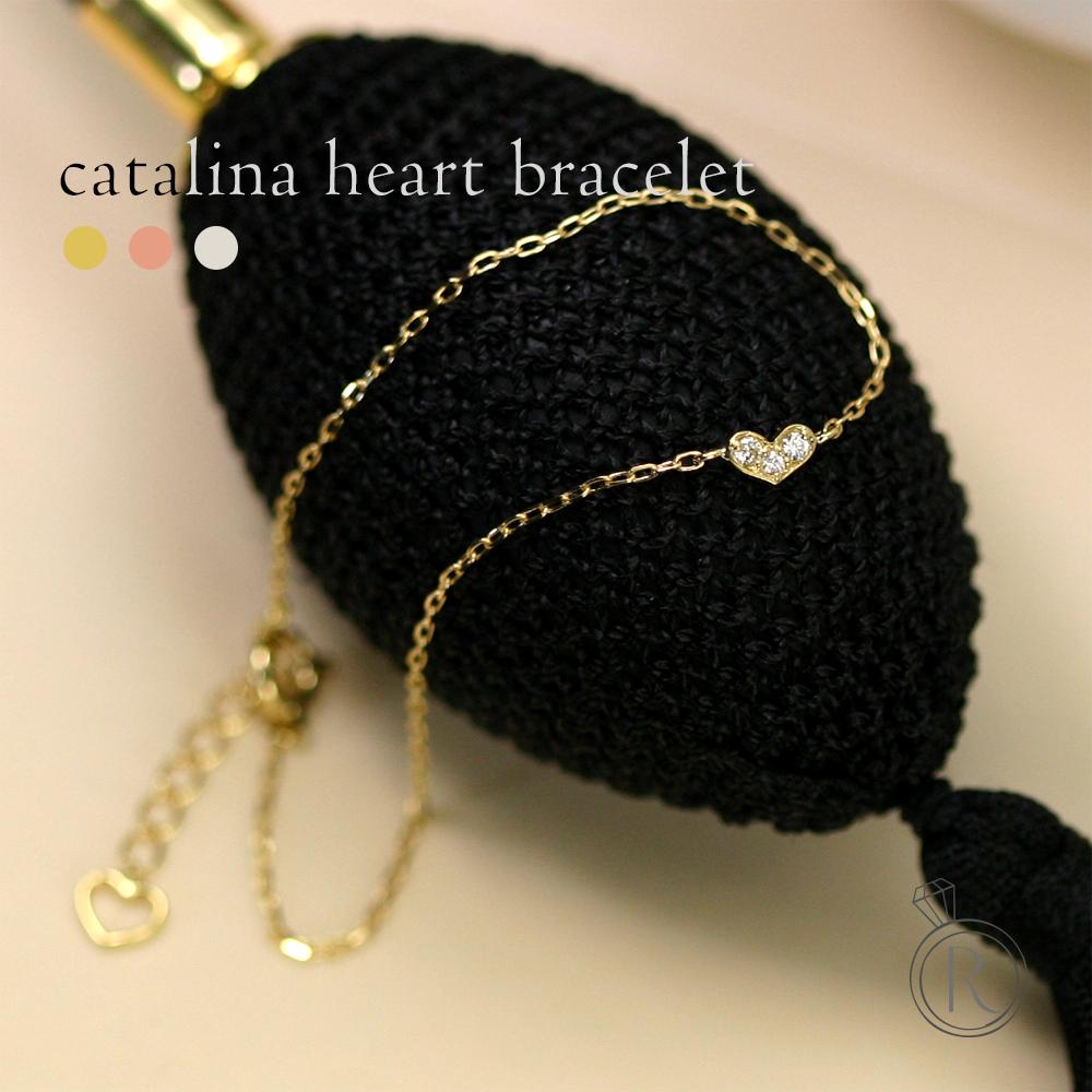 K18 ダイヤモンド カタリナハート ブレスレット 横広ハートは品があり、ちょこっと甘めな印象に 送料無料 レディース ダイヤ ブレスレット ダイアモンド bracelet ゴールド 18k 18金 代引不可