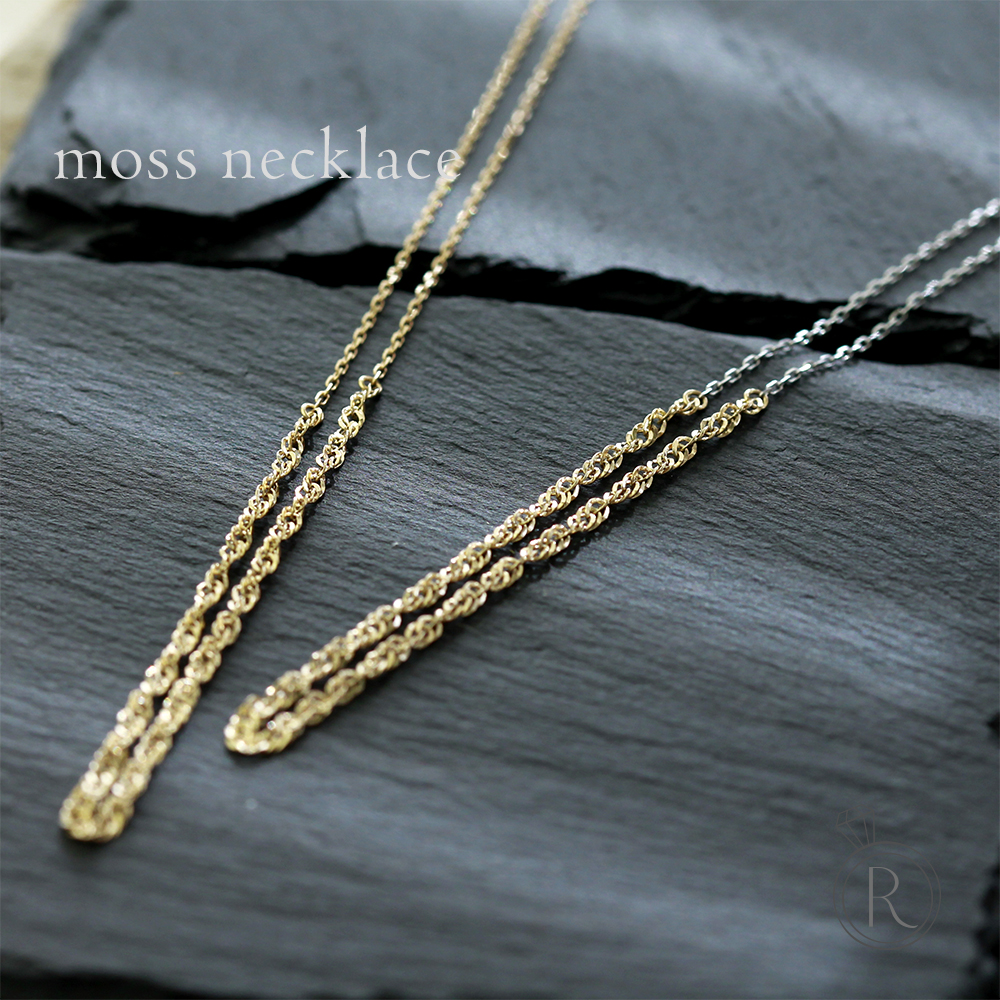 K18 モス チェーン ネックレス 素材をいかしたシンプルチェーンネックレス。 送料無料 地金 レディース 首飾り necklace 18k 18金 コンビ ペンダント ラパポート