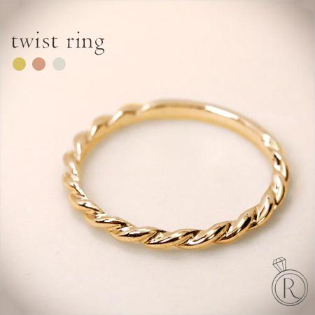 K18 ツイスト リング 指元をきれいに 細身で華奢さが女性らしいツイストのかたちは、どんなリングとの相性が良い 送料無料 K18 リング 地金 指輪 ピンキーリング ring 18k 18金 ゴールド ラパポート 代引不可