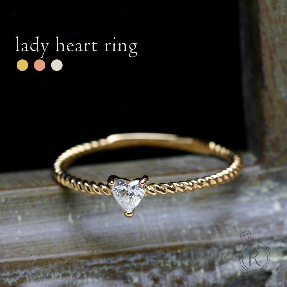 K18 ハートシェイプ ダイヤモンド リング Lady heart ring ロマンティックな愛らしさを表現するハートシェイプカット 送料無料 ダイヤ リング ダイアモンド 指輪 ring 18k 18金 ゴールド ラパポート 代引不可