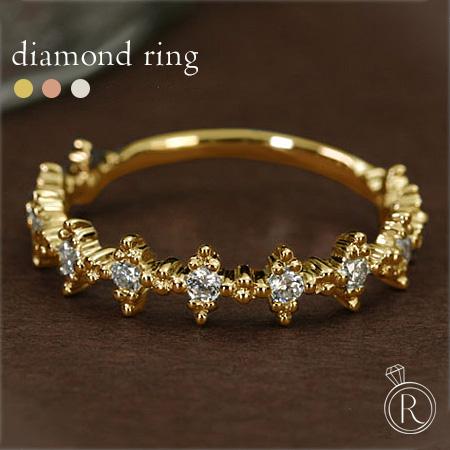 K18 ダイヤモンド リング いつもとちょっと雰囲気を変えて…ハーフエタ二ティ風リング 送料無料 ダイヤ リング ダイアモンド 指輪 エタニティリング ring 18k 18金 ゴールド ラパポート 代引不可