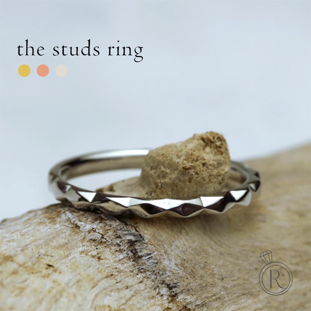 K18 スタッズ リング緩やかなスタッズが、フェミニンさを引き出してくれる地金リング 送料無料 K18 リング 地金 指輪 ring 18k 18金 ゴールド ラパポート 代引不可