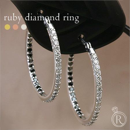 内側にはブラックダイヤ! K18 ダイヤモンド フープピアス 2色使いが斬新!内から輝くフープピアス 送料無料 ダイヤ ピアス DIAMOND 18k 18金 ゴールド ダイアモンド ラパポート 代引不可