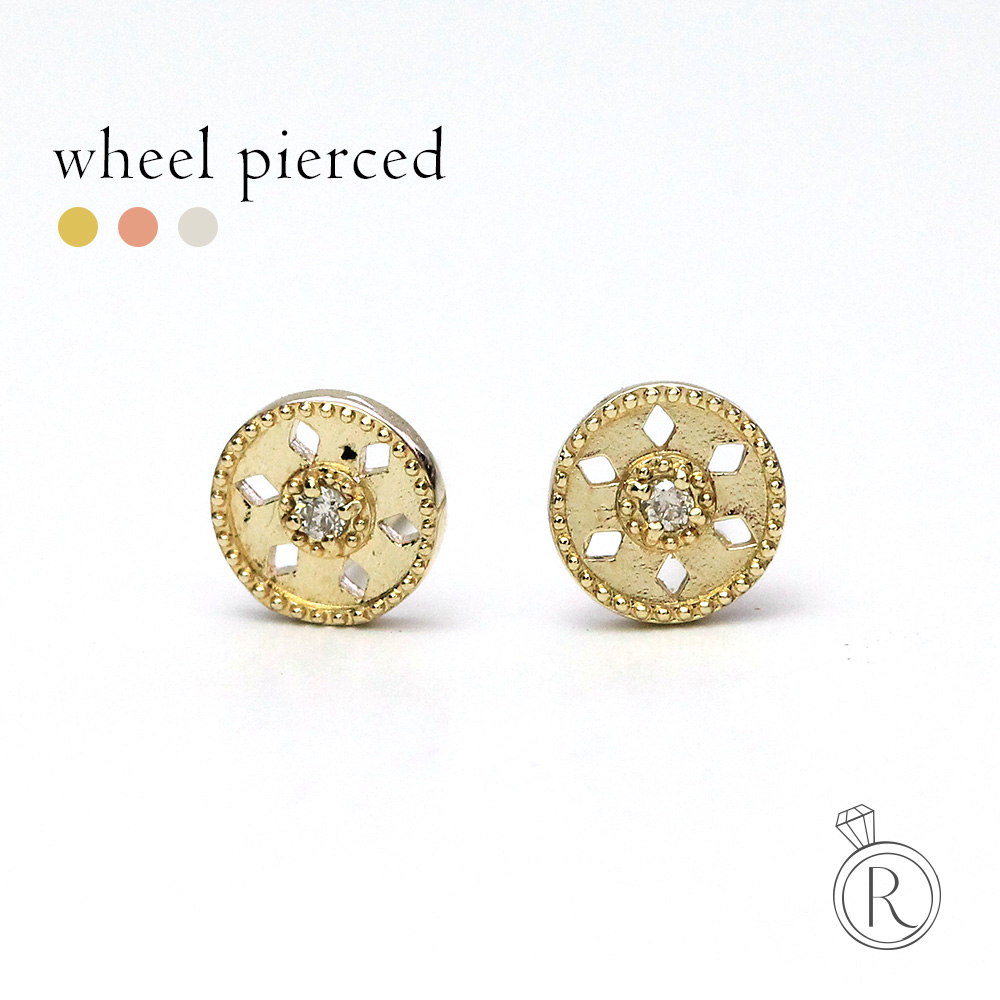 K18 ウィール ダイヤモンド ピアスボタンのような 送料無料 ダイヤ ピアス DIAMOND 18k 18金 ゴールド ダイアモンド ラパポート
