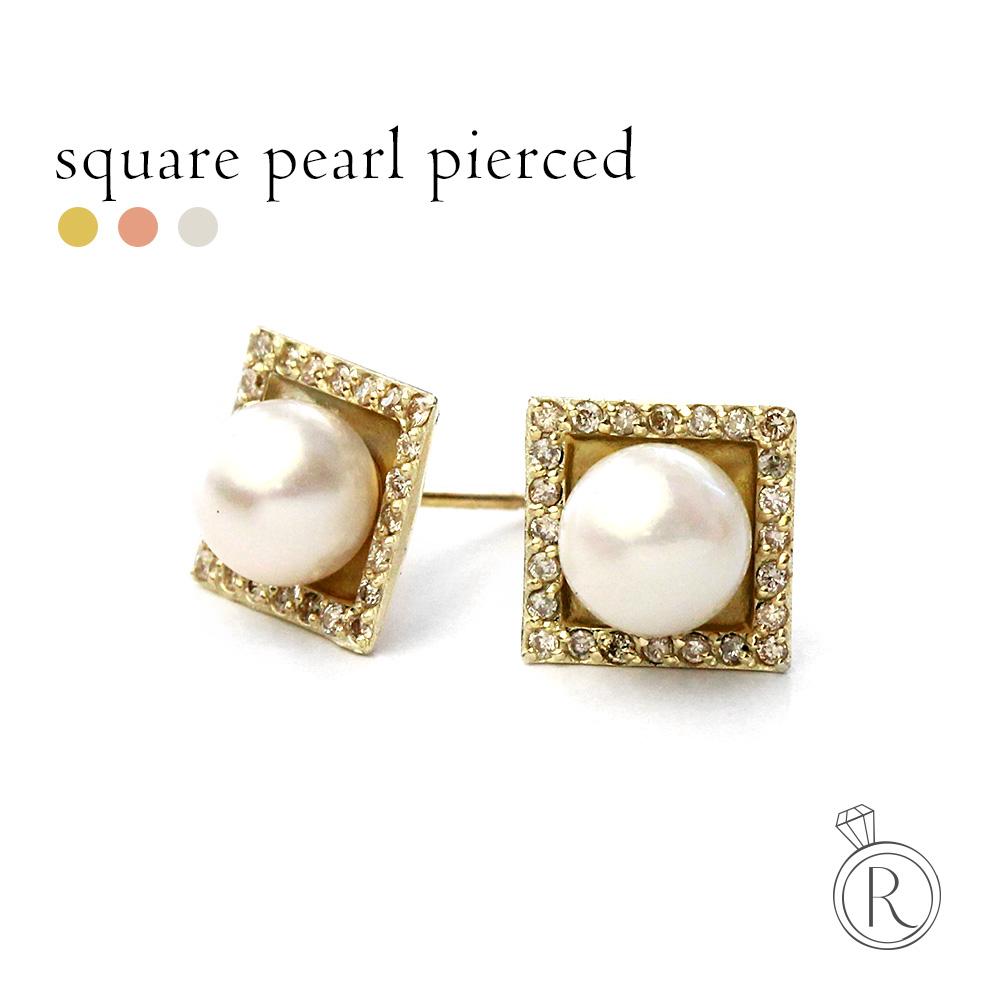 K18 スクエア パール ピアス あこや。 送料無料 真珠 pierce K18 ダイヤモンド アコヤ ピアス 18k 18金 ゴールド ラパポート 代引不可